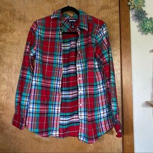 Lands End Red and Mint Green Flannel